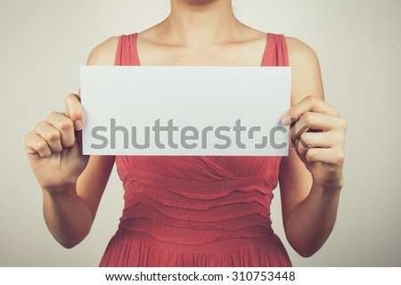 Vintage tone of young woman portrait with blank white banner, board on white isolated .