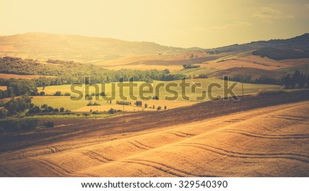 Vintage tone rural landscape in Tuscany, Italy - stock photo