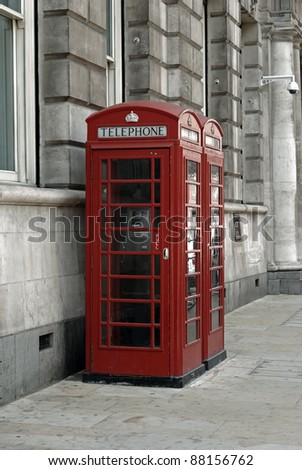 vintage toned British telephone booths