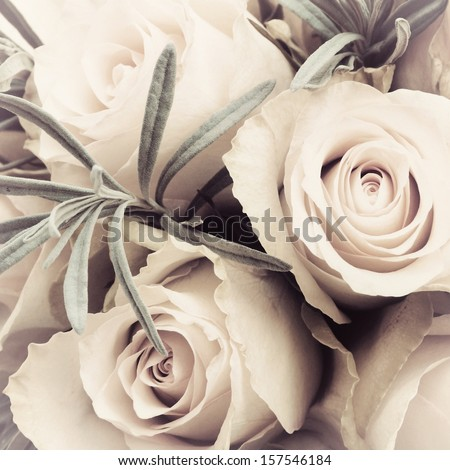 Vintage toned closeup of bouquet roses - stock photo