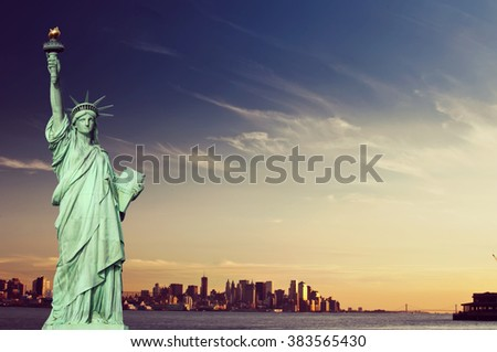 Vintage toned, Instagram effect filter from  New York statue of liberty - stock photo