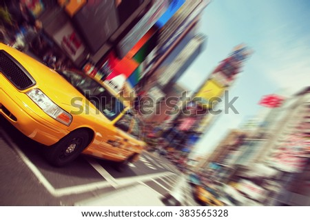 Vintage toned, Instagram effect filter from  New York times square taxi - stock photo