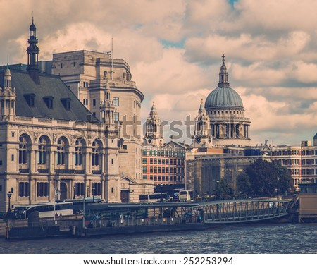 Vintage toned London cityscape at Thames River - stock photo