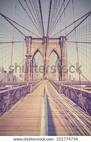 Vintage toned photo of the Brooklyn Bridge, NYC, USA.