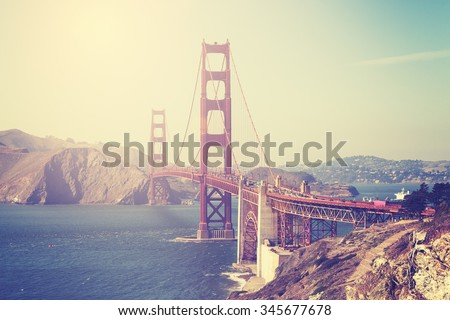 Vintage toned picture of the Golden Gate Bridge in San Francisco, USA. - stock photo