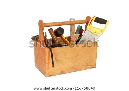 Vintage Toolbox with tools. Skrewdriver, hammer, handsaw - stock photo