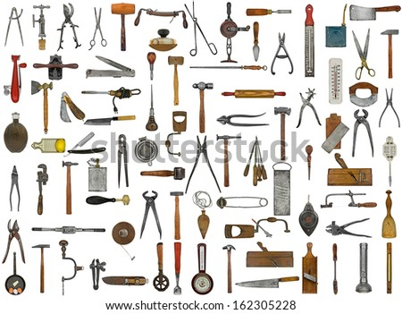 vintage tools and utensils collage background - stock photo