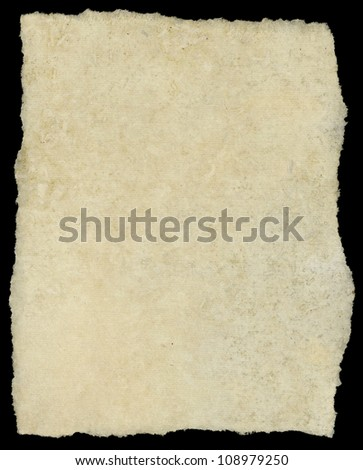 Vintage torn canvas art paper isolated on black. - stock photo