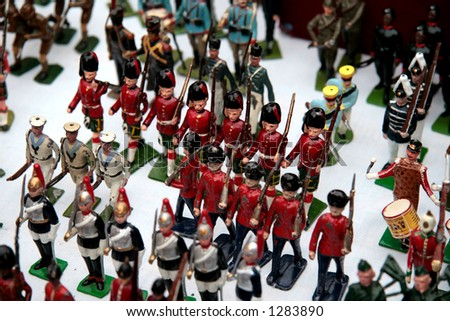 Vintage toy soldiers in the street market, London (very shallow DOF)