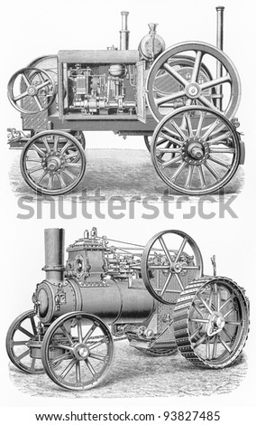 Vintage traction steam engine tractors from the beginning of 20th century - Picture from Meyers Lexicon books collection (written in German language ) published in 1908 , Germany.