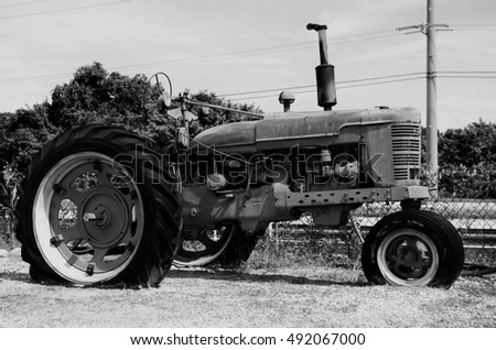 Vintage tractor in black & white