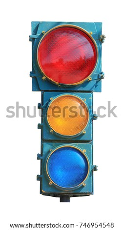 Vintage Traffic lights isolated on white background this has clipping path.