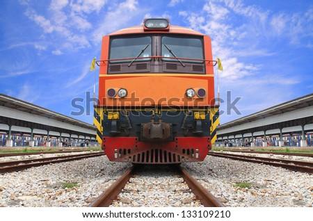 vintage train - stock photo