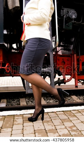 vintage train and girl