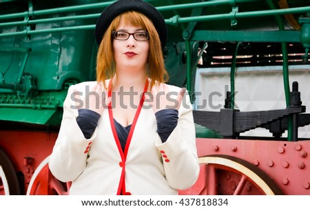 vintage train and girl - stock photo