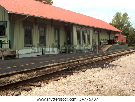 vintage train depot in the country - stock photo