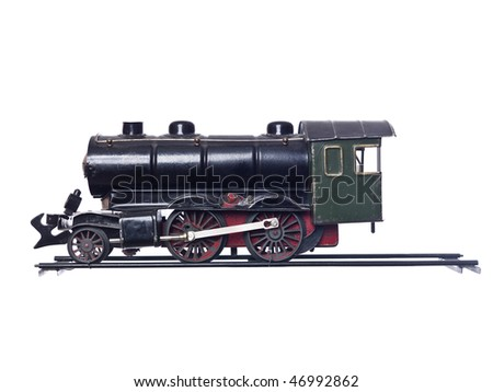 Vintage Train Set isolated on white Background