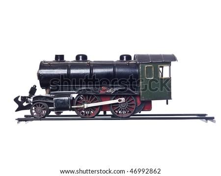 Vintage Train Set isolated on white Background - stock photo