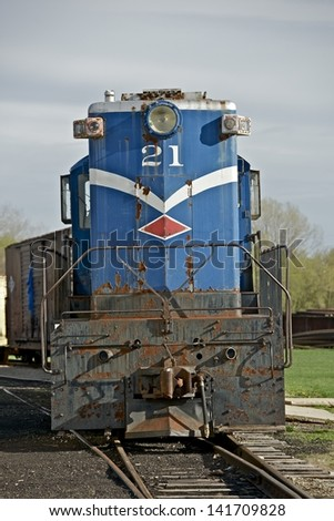 Vintage Train Somewhere in Illinois, USA. Old Train Engine Front. American Railroad Photography Collection. - stock photo