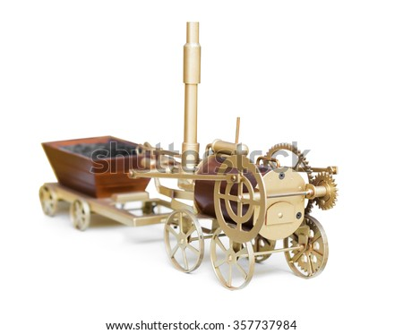 vintage train toy isolated on white background - stock photo