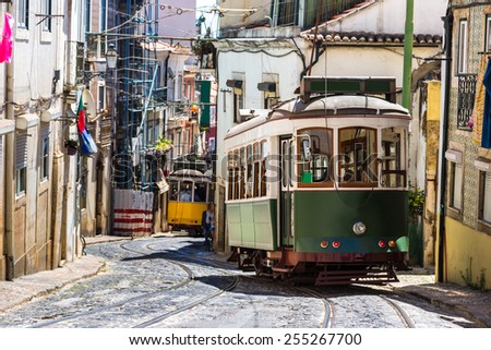 Vintage tram in the city center of Lisbon - stock photo