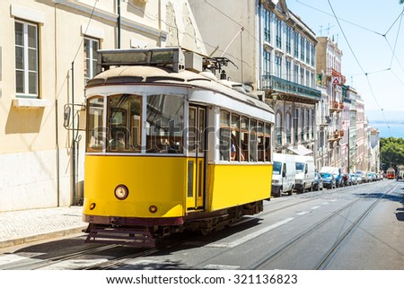 Vintage tram in the city center of Lisbon  Lisbon, Portugal in a summer day