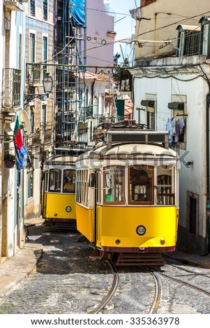 Vintage tram in the city center of Lisbon  Lisbon, Portugal in a summer day - stock photo