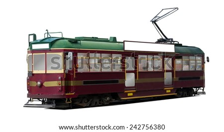 vintage tram isolated over white surface - stock photo