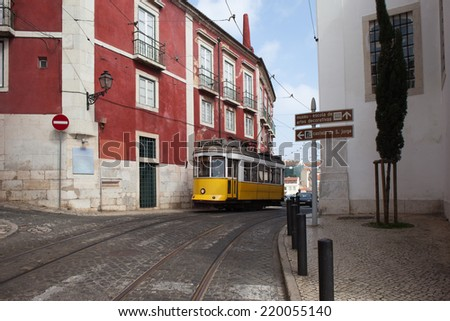 Vintage tram route 12 in the city of Lisbon, Portugal. - stock photo