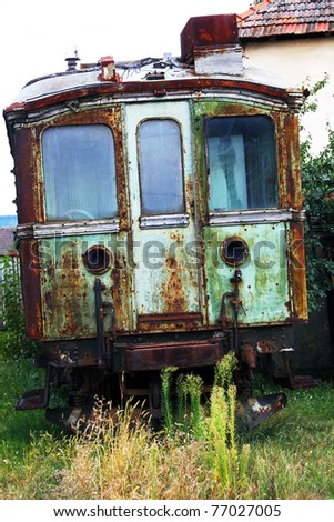 Vintage trams in depot - stock photo