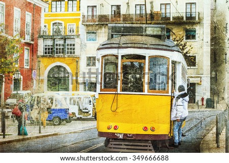 vintage trams in Lisbon. Retro picture - stock photo