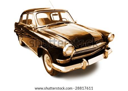 vintage transport. old retro car isolated on white - stock photo