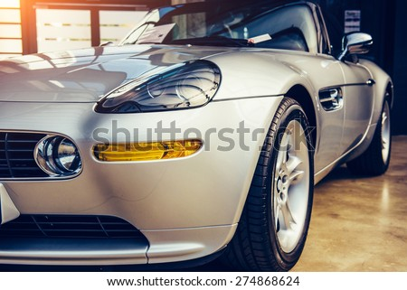 vintage transport retro car. - stock photo