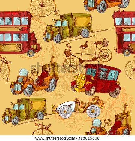 Vintage transport steampunk cars bikes transport colored seamless pattern  illustration - stock photo