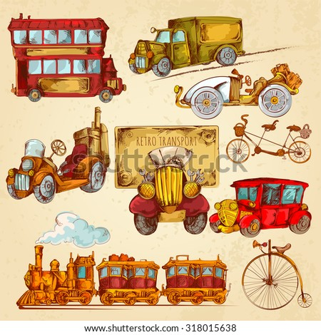 Vintage transport steampunk historical vehicle sketch colored decorative icons set isolated  illustration - stock photo