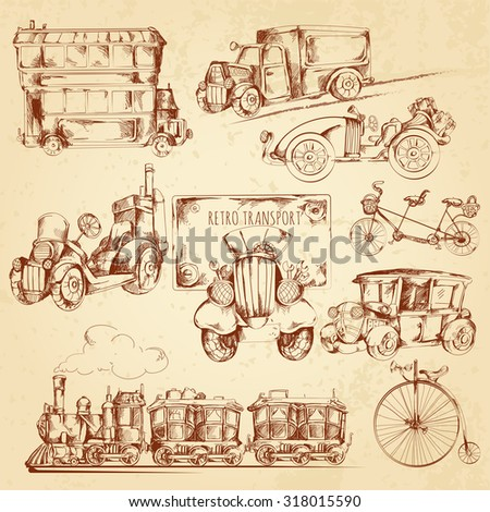 Vintage transport steampunk vehicles sketch decorative icons set isolated  illustration - stock photo