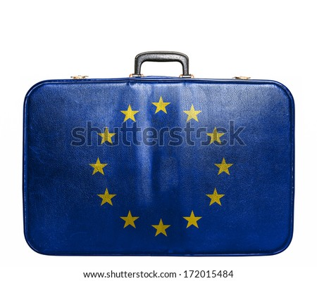 Vintage travel bag with flag of European Union - stock photo