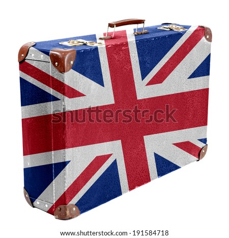 Vintage travel bag with flag of Great Britain, side view