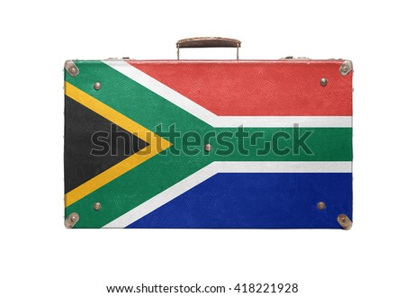 Vintage travel bag with flag of South Africa isolated on white background. - stock photo