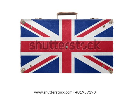 Vintage travel bag with flag of United Kingdom isolated on white background. - stock photo