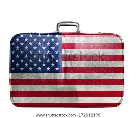 Vintage travel bag with flag of United States of America - stock photo