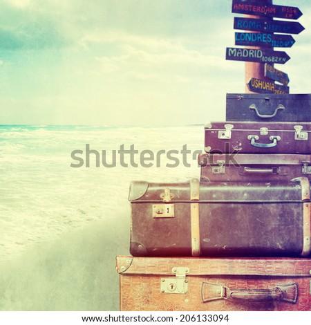 Vintage travel bags  - stock photo