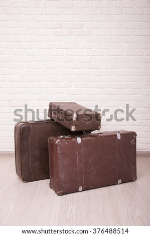 Vintage travel bags.Beautiful old suitcases - retro style - stock photo
