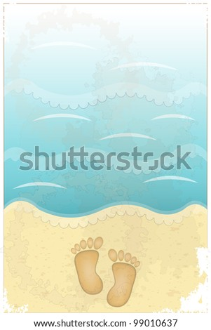 Vintage Travel Postcard - footprints in sand at the beach - JPEG version