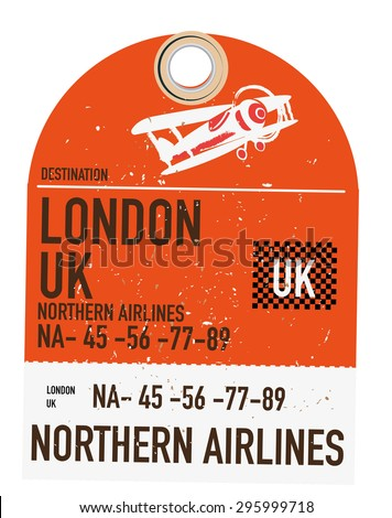 vintage travel ticket to London, This is a old retro or vintage style airliner travel ticket to the destination of London. - stock photo