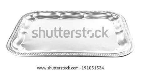 Vintage tray, isolated on white - stock photo