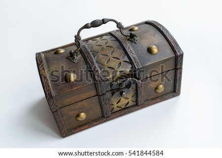 Vintage treasure chest on a white background.