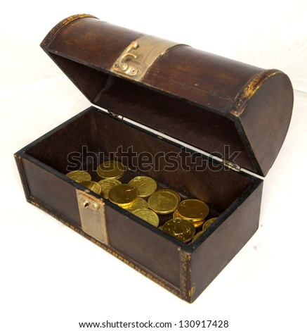 vintage treasure chest with golden euro coins - stock photo