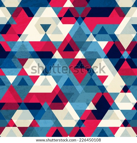 vintage triangle seamless pattern (raster version) - stock photo
