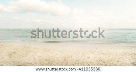 Vintage tropical beach in summer - panorama - stock photo